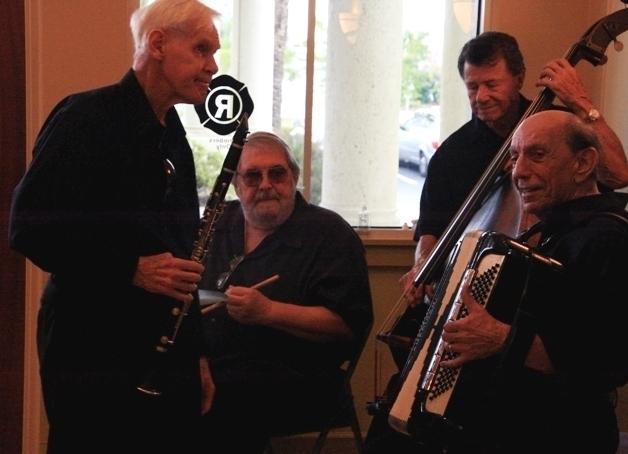Bill Carmichael (clarinet), Randy Opela (drums), Dominic Mancini (bass) and Frank Reda (accordion) at the 2012 Punta Gorda Wine & Jazz Festival's jazz brunch