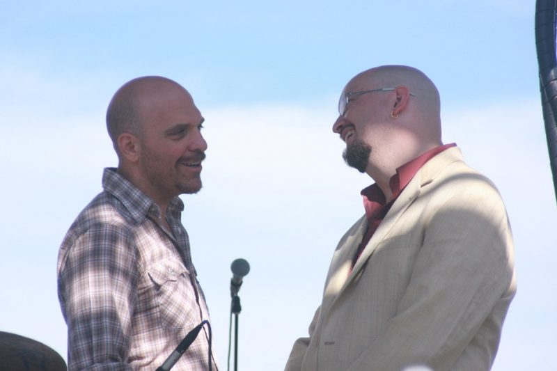 Dave King and Ethan Iverson of Bad Plus before performance at the 2010 Rosslyn Jazz Festival