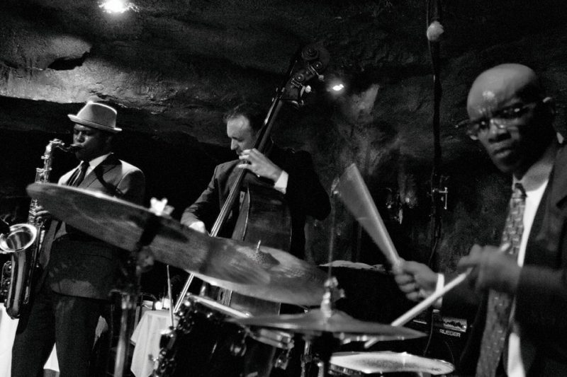 JD Allen Trio, with JD Allen, Gregg August and Rudy Royston at Bohemian Caverns in Washington, D.C., in October 2010