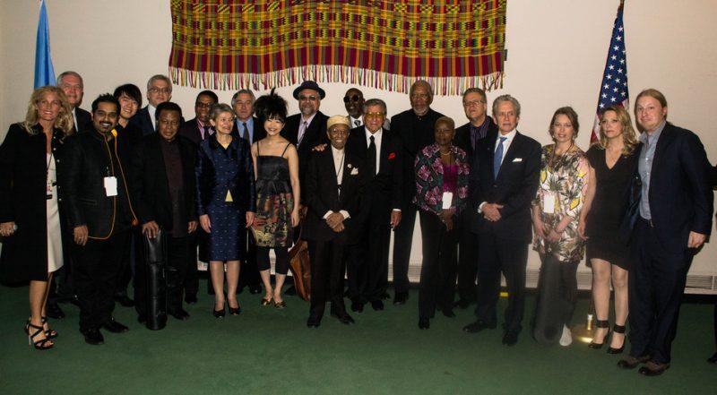 Musicians, hosts and UN dignitaries prior to International Jazz Day concert, UN, NYC, 4-12