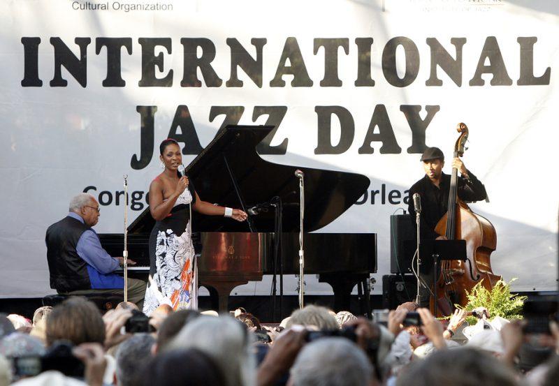 Ellis Marsalis, Stephanie Jordan and Roland Guerin (from left) celebrate International Jazz Day in New Orleans