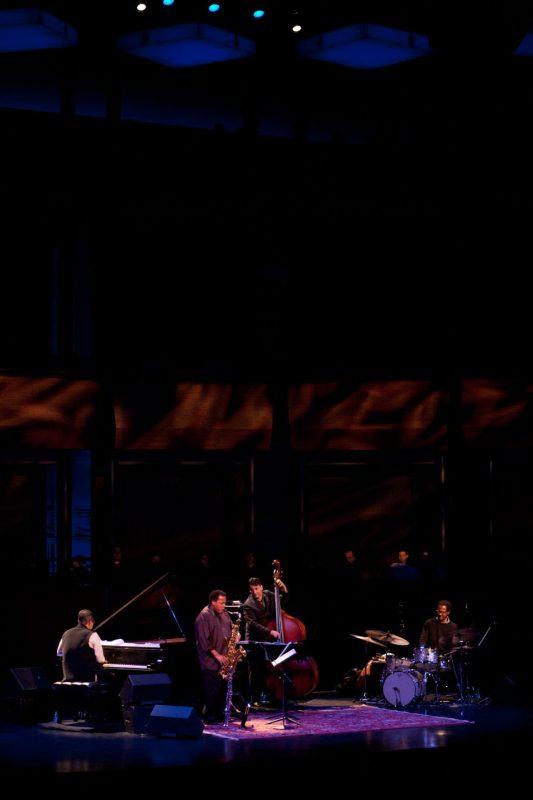 The Wayne Shorter Quartet at Jazz at Lincoln Center, April 2012: Danilo Pérez, Shorter, John Patitucci and Brian Blade (from left)