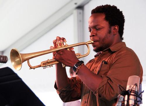 Trumpeter Ambrose Akinmusire at the 2012 Newport Jazz Festival
