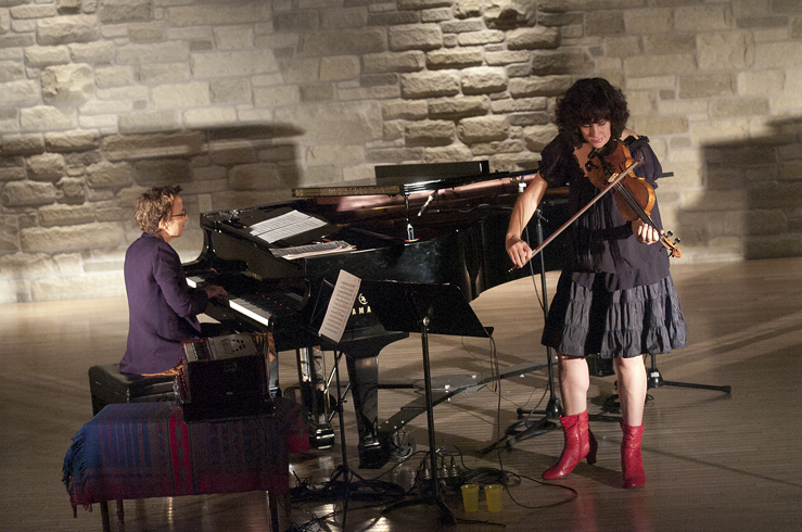 Myra Melford and Jenny Scheinman in performance at the 2012 Guelph Jazz Festival