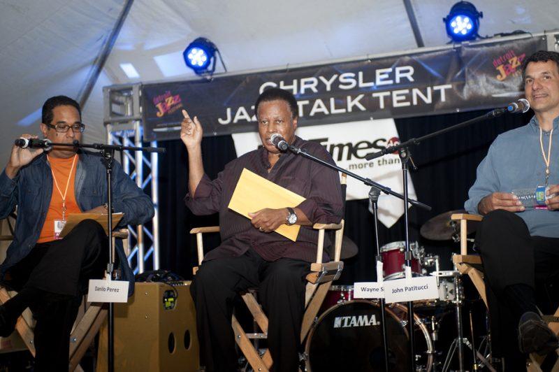 Renee Rosnes interviews members of the Wayne Shorter Quartet (Danilo Pérez, Wayne Shorter, John Patitucci and Brian Blade) in session at Talk Tent at 2012 Detroit Jazz Festival