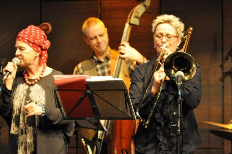 Carol Grimes (vocals) and Annie Whitehead (trombone) performing at the Studio - St. James Theatre in London on October 12, 2012