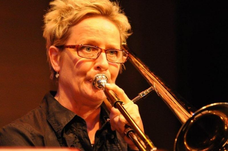 Annie Whitehead (trombone) performing at the Studio - St. James Theatre in London on October 12, 2012