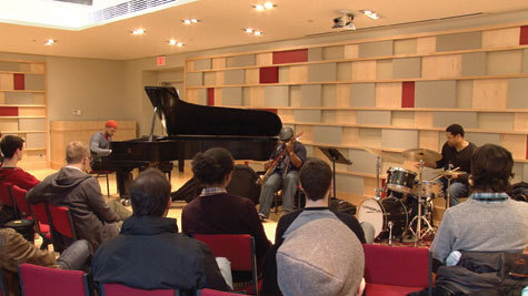 Jason Moran, Tarus Mateen and Nasheet Waits (from left) perform at New England Conservatory as part of a master class in 2012