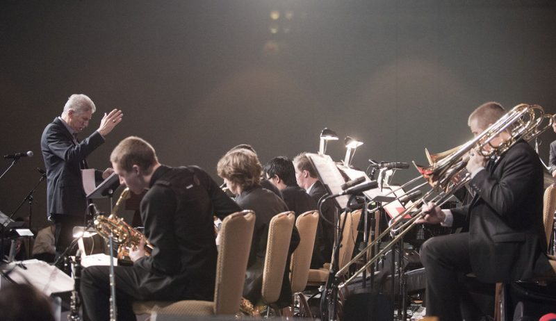 Bob Mintzer leads the Univ. of Southern California Thornton Jazz Orchestra at the 2013 JEN Conference