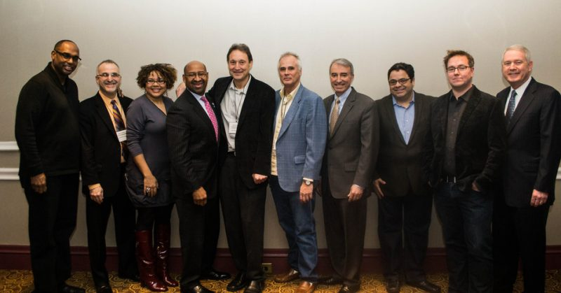 Jazz Connect Conference, 1-13 (l. to r.): Gerald Veasley, Gary Steuer, Melissa Walker, Philadelphia Mayor Michael Nutter, Peter Gordon, Lee Mergner, Mario Garcia Durham, Arturo O'Farrill, Jeff Myers, Tom Carter