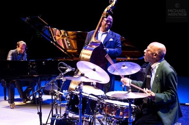 Aaron Goldberg, Christian McBride, Roy Haynes, jazz for Obama concert, NYC 10-12