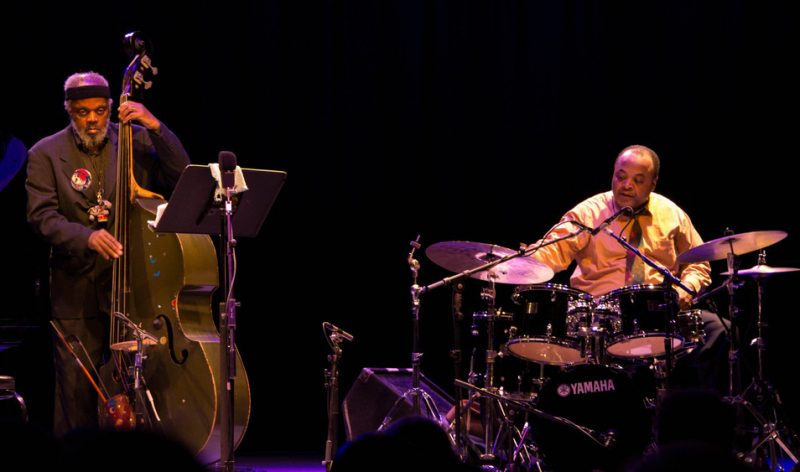 """Henry Grimes and Jeff """"Tain"""" Watts, Jazz for Obama concert, NYC, 10-12"""