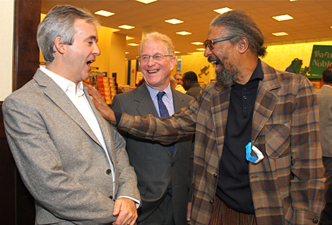 John Abbott, Bob Blumenthal and Butch Morris at Saxophone Colossus book signing in NYC