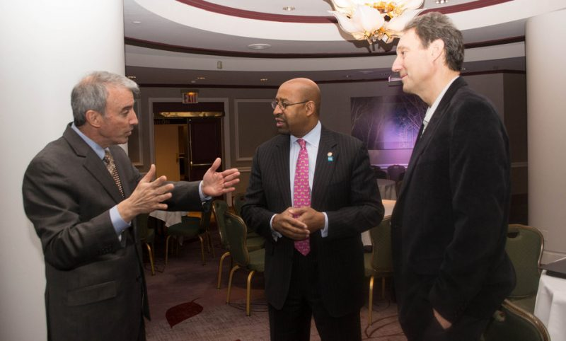 Mario Garcia Durham (President and CEO of APAP), Philadelphia Mayor Michael Nutter, and Thirsty Ear Recordings' Peter Gordon talk music at the Jazz Connect Conference at the Hilton New York, Jan. 2013