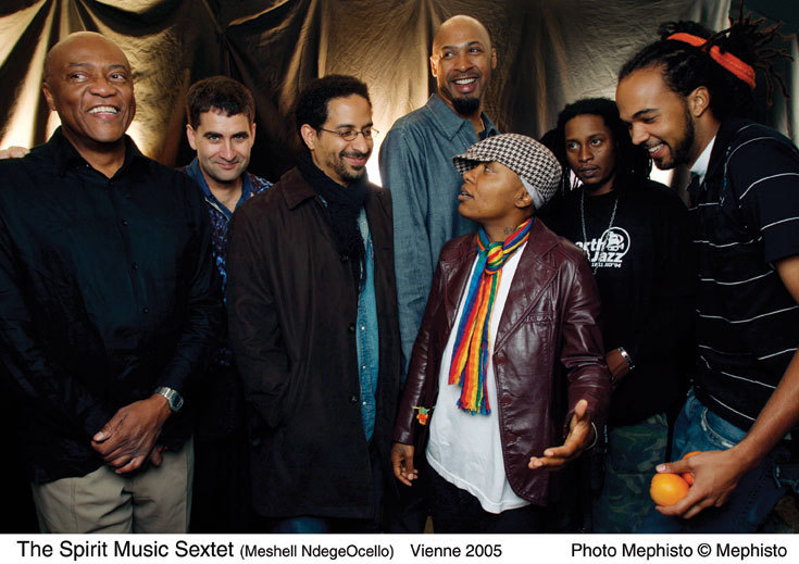 Meshell Ndegeocello and her Spirit Music Jamia band including Oliver Lake (far left) and Ron Blake (behind Ndegeocello) in 2005