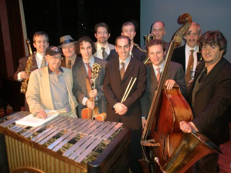"""The """"New"""" Teddy Charles Tentet (Charles is far left, in front of his vibes), after completing a performance for the Bronx Jazz Series at the Riverdale Y in November 2008"""