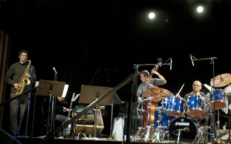 Christian Brown (tenor sax), Alex Ernewein (piano), Hayden Farrar (bass) performing with Jack DeJohnette at Humber College in Toronto in March 2013