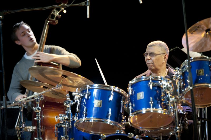 Hayden Farrar with Jack DeJohnette in performance at Humber College in Toronto in March 2013