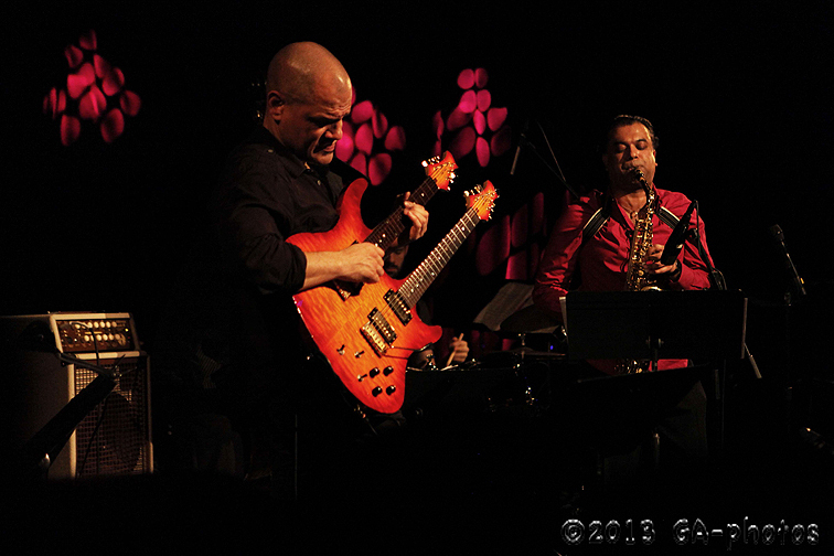 David Fiuczynski (guitar) and Rudresh Mahanthappa in the saxophonist's Gamak, Le Poisson Rouge, NYC Winter Jazzfest 2013