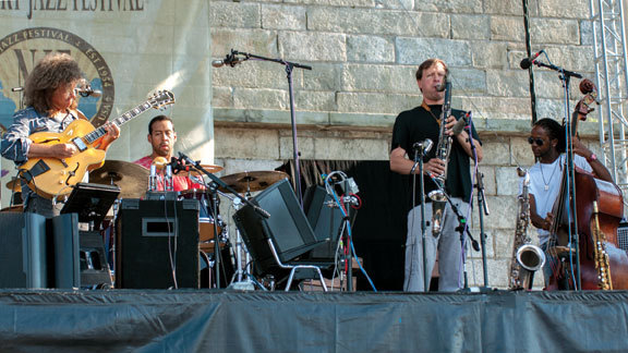 Pat Metheny, Antonio Sanchez, Chris Potter, Ben Williams at the Newport Jazz Festival, August 2012