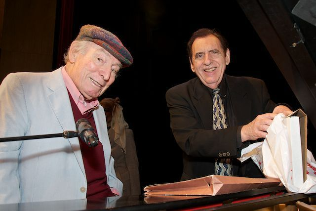 George Wein (l.) receives Highlights in Jazz award from Jack Kleinsinger, May 2013
