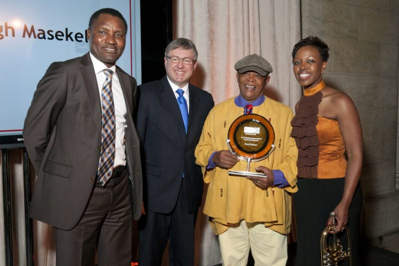 left to right: Chief Executive Officer of South African Tourism, Thulani Nzima, Minister of Tourism in the Cabinet of South Africa, Hon. Marthinus van Schalkwyk, Hugh Masekela and President of South African Tourism North America, Sthu Zungu