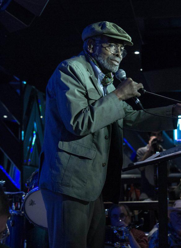 Amiri Baraka presents the Jazz Journalists Association's Lifetime Achievement Award to Willard Jenkins at the JJA's 2013 award ceremony in NYC
