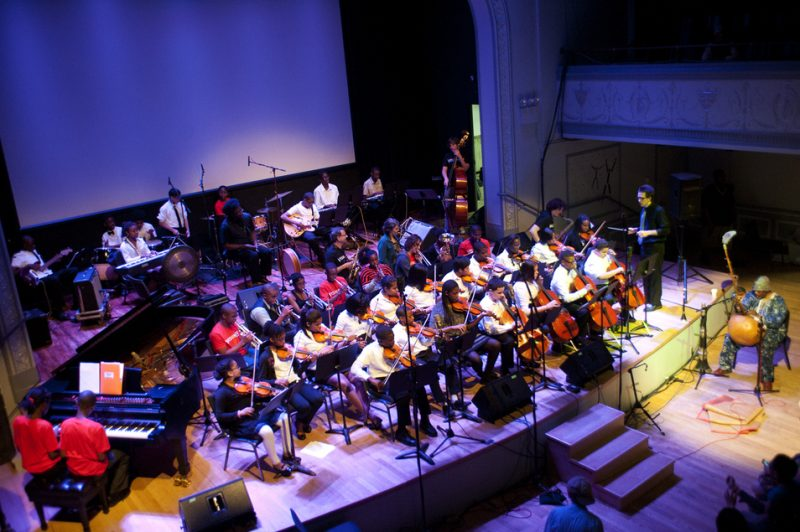 William Parker (on koto) and Hamid Drake with young musicians at Vision Festival 2013; Roulette, Brooklyn