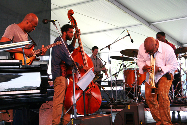 Lionel Loueke, Joshua Crumbly, Brice Winston, Terence Blanchard and drummer Kendrick Scott (from left) at the 2013 Newport Jazz Festival