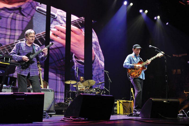 Guitarists Allan Holdsworth (l.) and Kurt Rosenwinkel, NYC, April 2013. Photo courtesy Crossroads Guitar Festival