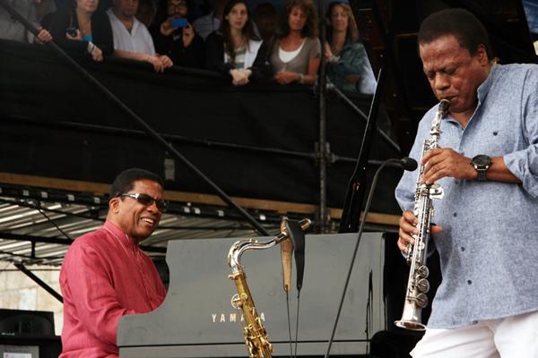 Herbie Hancock and Wayne Shorter at the 2013 Newport Jazz Festival