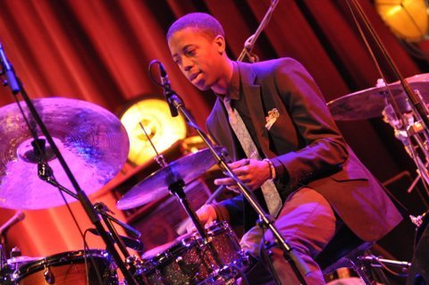 Moses Boyd in performance at the 2013 London Jazz Festival