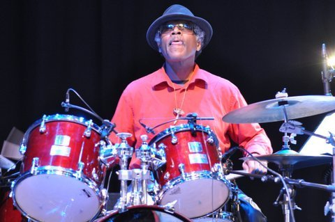 Famoudou Don Moye in performance at the 2013 London Jazz Festival