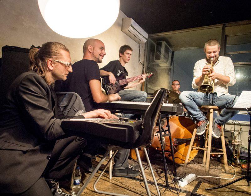 Jam session at the 2013 Belgrade Jazz Festival: Leszek Możdżer, keys; Shai Maestro, keys; Petar Krstajić, bass; Pedja Milutinović, drums; Miloš Nikolić, trumpet
