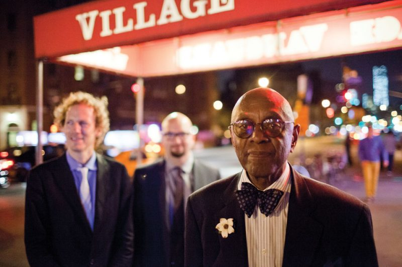 Ben Street, Ethan Iverson and Tootie Heath (from left), outside the Village Vanguard in August 2013
