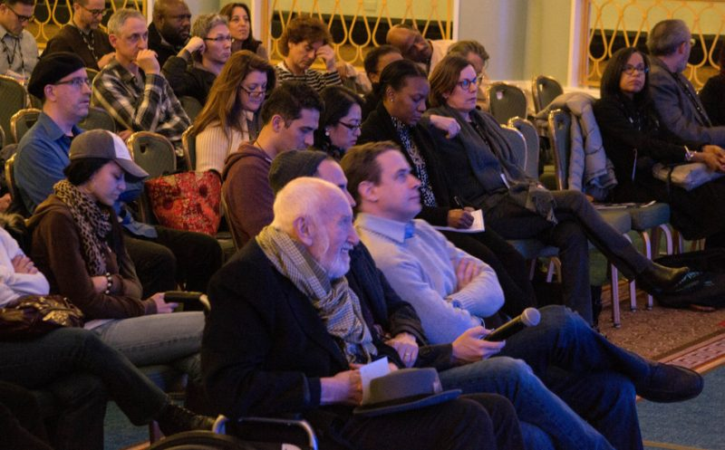 """Former Blue Note Records President Bruce Lundvall (front, wearing scarf) in the audience at the """"Blue Note at 75"""" tribute at Jazz Connect, NYC, Jan. 2014"""