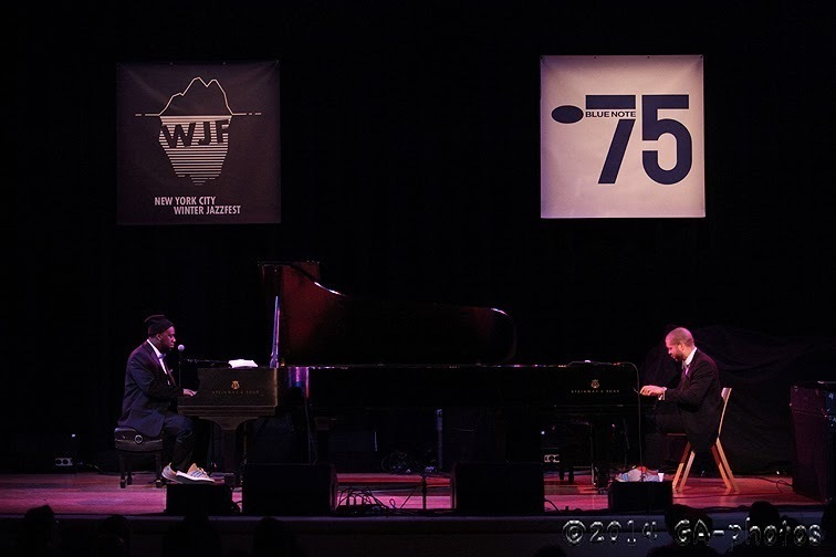 Robert Glasper (left) and Jason Moran perform at the Town Hall to honor the 75th anniversary of Blue Note Records, part of NYC Winter Jazzfest 2014