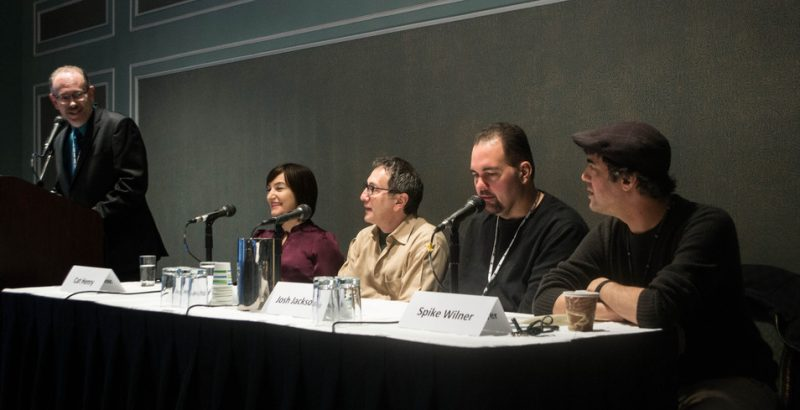 """""""New Models and Streams for Presenting Jazz"""" panel, Jazz Connect, NYC, Jan. 2014. l. to r.: moderator Marty Ashby of Manchester Craftsmen's Guild, Cat Henry (JALC), Danny Melnick (Absolutely Live), Josh Jackson (WBGO), Spike Wilner (Smalls)"""