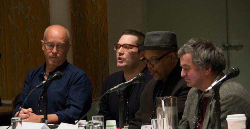 """""""The New Paradigm for Record Labels"""" panel at Jazz Connect, NYC, Jan. 2014. l. to r.: musician Dave Douglas, Seth Rosner (Pi Records), musician Greg Osby, Oliver Weindling (Babel Records)"""