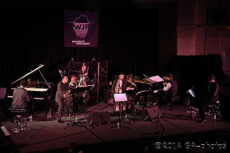 "In remembrance of Butch Morris, Henry Threadgill's ""Ensemble Double-Up"" performs at Judson Church, NYC Winter Jazzfest 2014. From left: David Virelles, Roman Filiu, Jose Davila, Craig Weinrib, Curtis Macdonald, Christopher Hoffman, Jason Moran and Threadg"