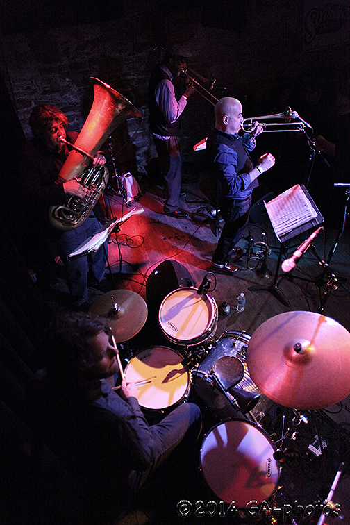 Billy Martin's Wicked Knee performs at the Bowery Electric, NYC Winter Jazzfest 2014. Clockwise from top right: Steven Bernstein, Martin, Marcus Rojas and Curtis Fowlkes