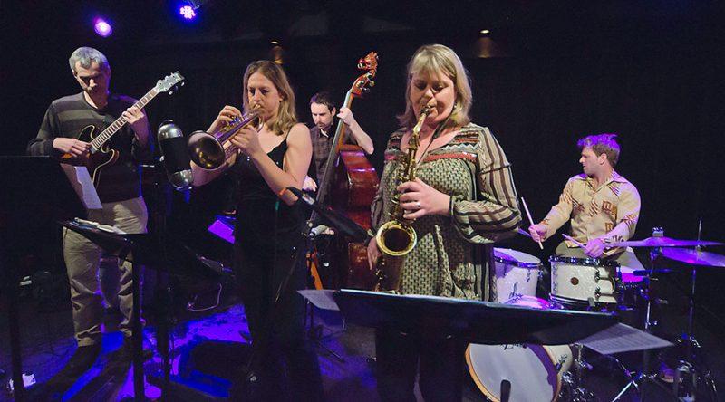 Jensen Sisters & Ben Monder, Ottawa JazzFest Winter Series, Feb. 2014. L-R: Monder, Ingrid Jensen, Matt Clohesy, Christine Jensen, Jon Wikan