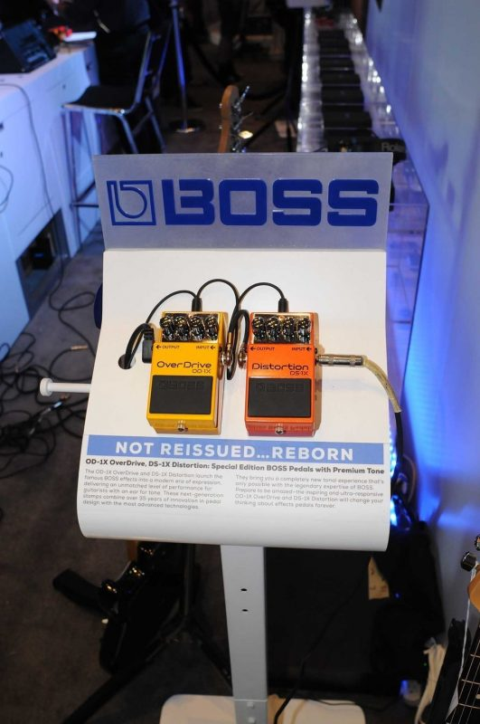 BOSS' OD-1X and DS-1X stompboxes on display at Winter NAMM 2014