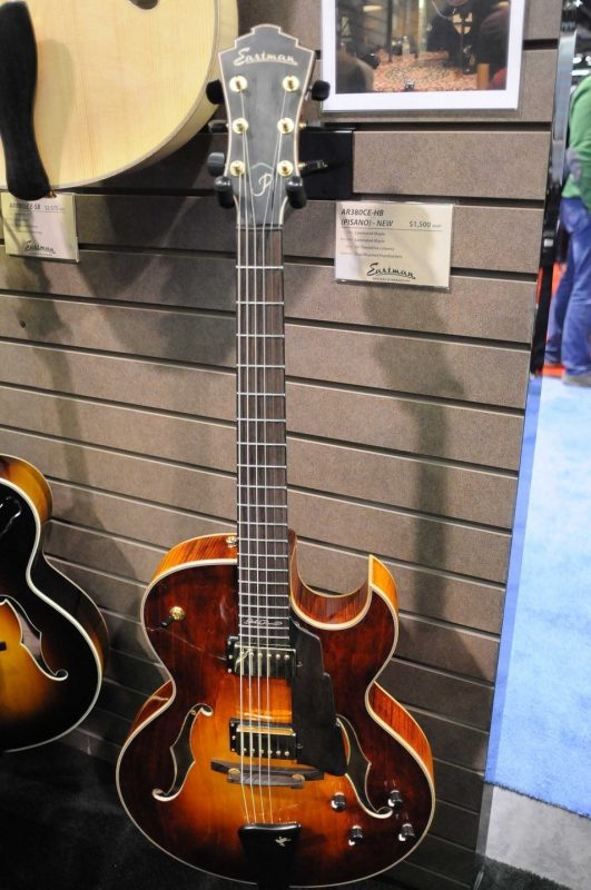 A prototype of an affordable John Pisano signature archtop at Winter NAMM 2014