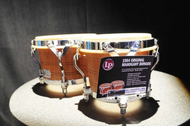 LP's reissue of the company's original bongo drums from 1964, on display at Winter NAMM 2014