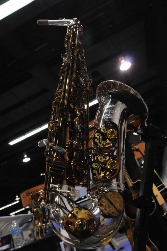 """P. Mauriat signature Greg Osby alto sax, """"The Dragon,"""" on display at Winter NAMM 2014"""
