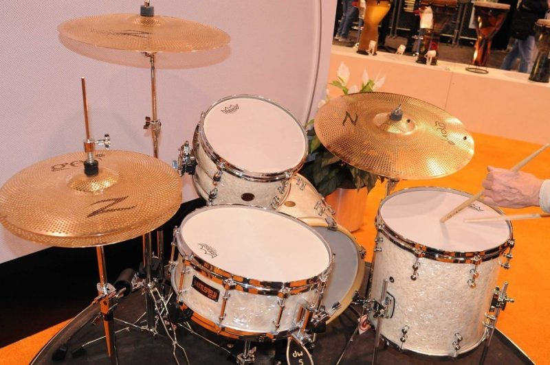 Drum kit outfitted with REMO Silent Stroke mesh drumheads, on display at Winter NAMM 2014