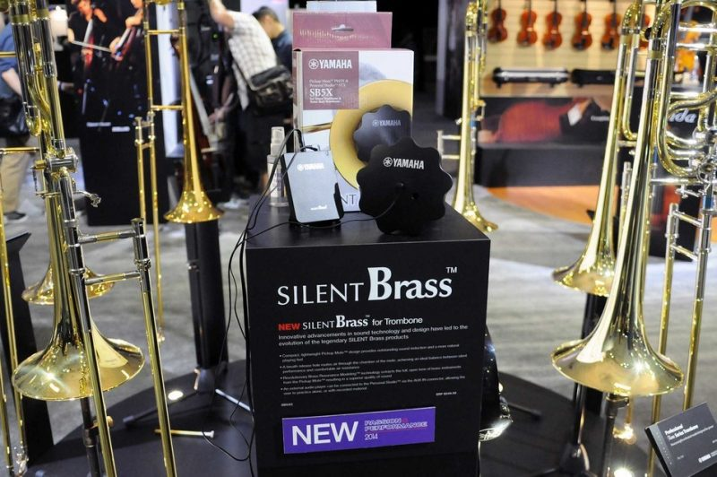 Yamaha Silent Brass system for trombone, on display at Winter NAMM 2014