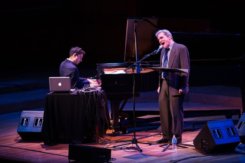 Vijay Iyer (l.) with Robert Pinsky, Cambridge, Mass. 3/14