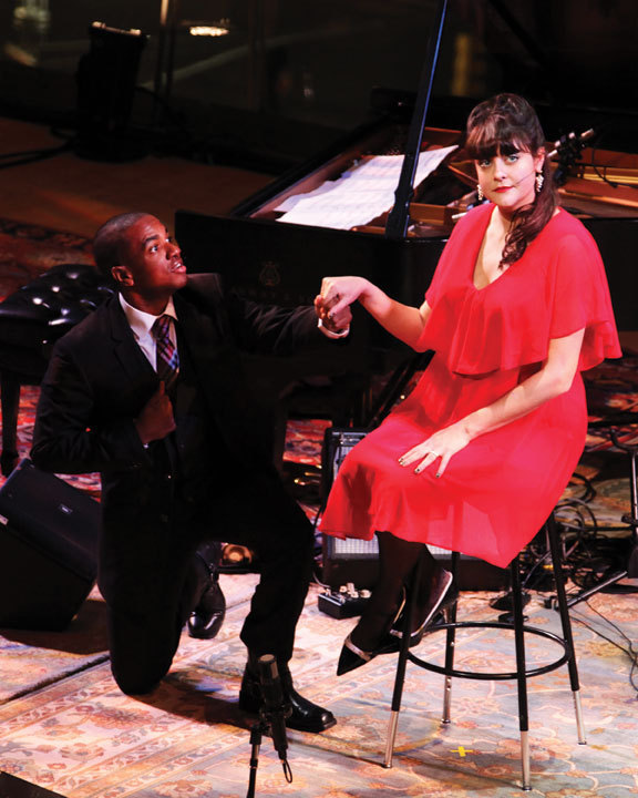 "Vince Vincent and Anne Rhodes perform a scene from Anthony Braxton's opera ""Trillium J"""